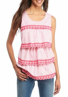 Crown & Ivy Women's Sleeveless Embroidered Stripe Tier Ruffle Top Pink Size S M