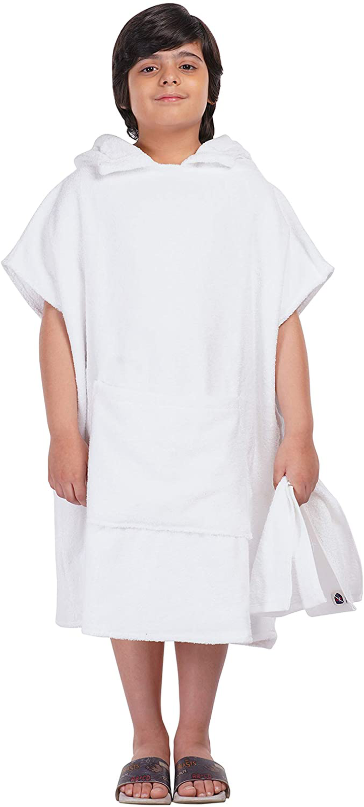 ALLEN & MATE Hooded Towel Poncho for Kids, Premium Cotton Changing Robe for Beac