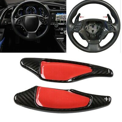 Red Real Carbon Fiber Steering Wheel Shift Paddle Fits for Chevrolet Corvette C7