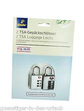 TCM Tchibo 2 x TSA Kofferschloss Gepäckschloss Schloss Schlösser NEU