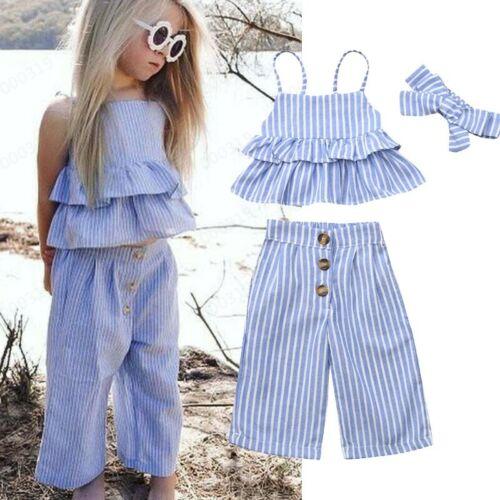 UK Toddler Kids Baby Girl Stripe Ruffle Tops T Shirt+Pants+Headband Outfits Set