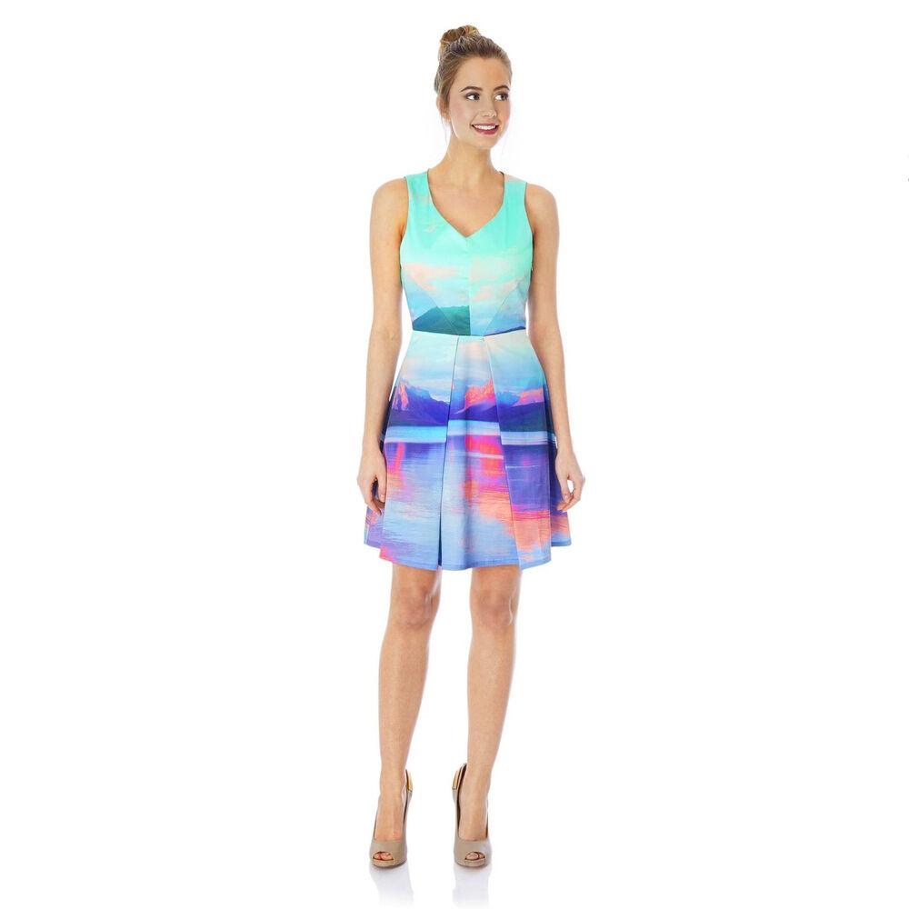 % Yumi Mountain Print Robe Bleu S-m (uk10/12)