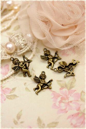 4 pezzi charm angelo in metallo colore bronzo  misura 2,8 x 1,9 cm