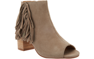 Kensie Suede Open-toe PICK Booties Side Fringe - Erika PICK Open-toe SIZE NW 0e81d3