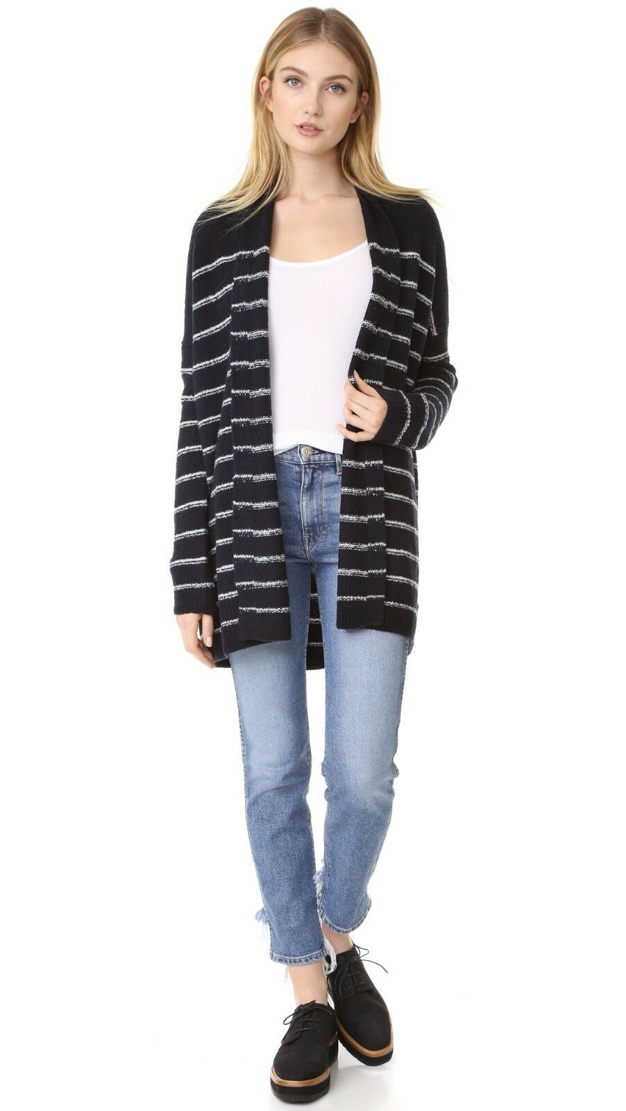 NWT Vince Vince Vince Striped Italian Wool Cardigan Coastal Off White M  445 79a85c