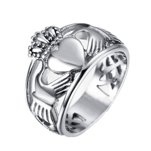HAMANY Jewelry Men/'s Stainless Steel Crown Claddagh Ring with Celtic Knot Ete...
