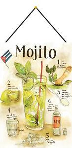 Mojito-Recette-Cocktail-BAR-Plaque-avec-Cordon-Signe-en-Etain-Metal-20-X-30-CM