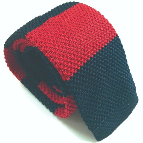 Luxury Mens Blue and Red Striped Woven Tie Necktie Solid Knitted Skinny