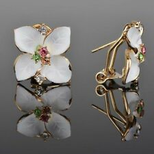 Contemporary Enameled White Flower Leverback Earrings w Multi Color Rhinestones