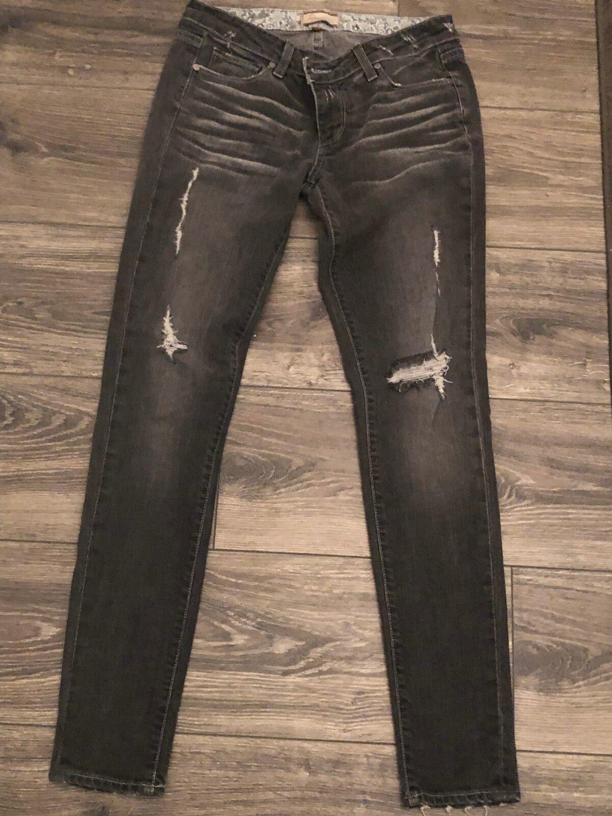 Paige premium denim distressed skinny jeans size 28 dark grey