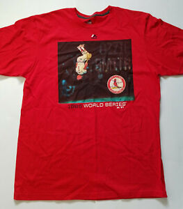St-Louis-Cardinals-Ozzie-Smith-1985-World-Series-t-shirt-red-size-XL-small-hole