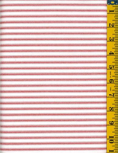 Ticking Stripe Cotton Quilt Fabric by P/&B Red stripe on Ecru
