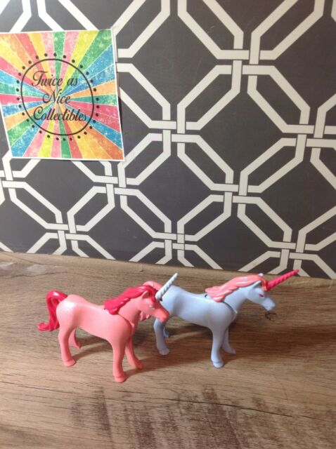 rare playmobil unicorns 7783 pink with blue horn  7870