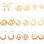 Argent Or Cercles Spirale Ronde Tribal Hoop Boucles d/'oreilles STUD Piercing Jewelry