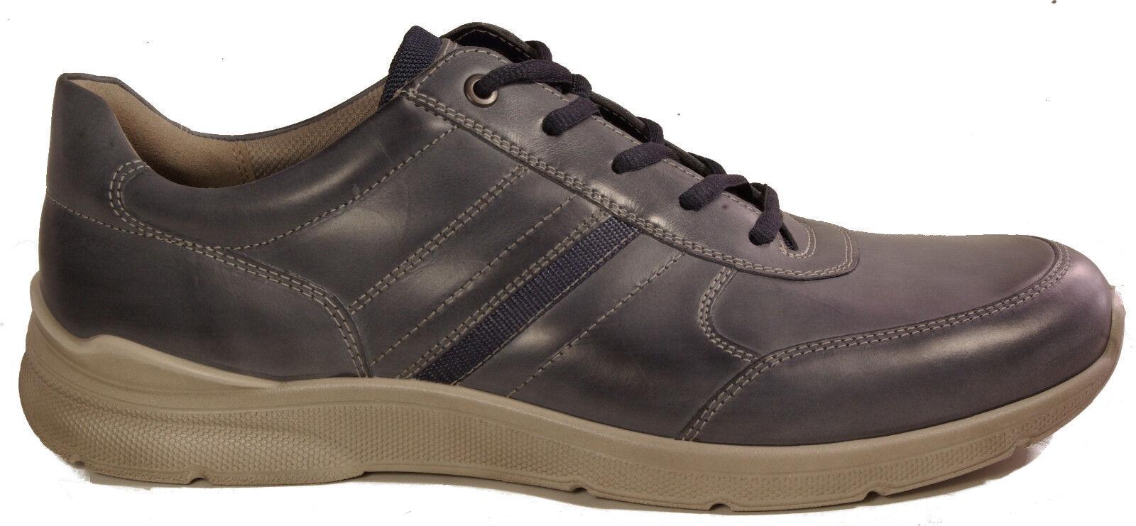 ECCO Schuhe Mod. IRVING Schnürschuhe Halbschuh BLAU Leder Wechselfußbett NEU