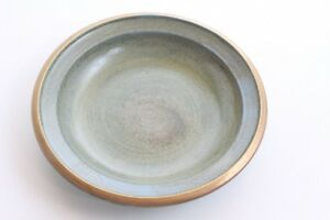 Green-Plate-Ceramics-Handmade-Studio-1970er-Vintage-Signed-Gold-Uninstall-Kor