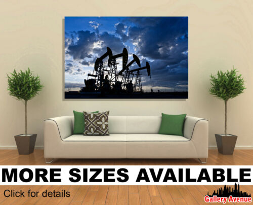 Wall Art Canvas Picture Print Industry Oil Pump Jacks 3.2
