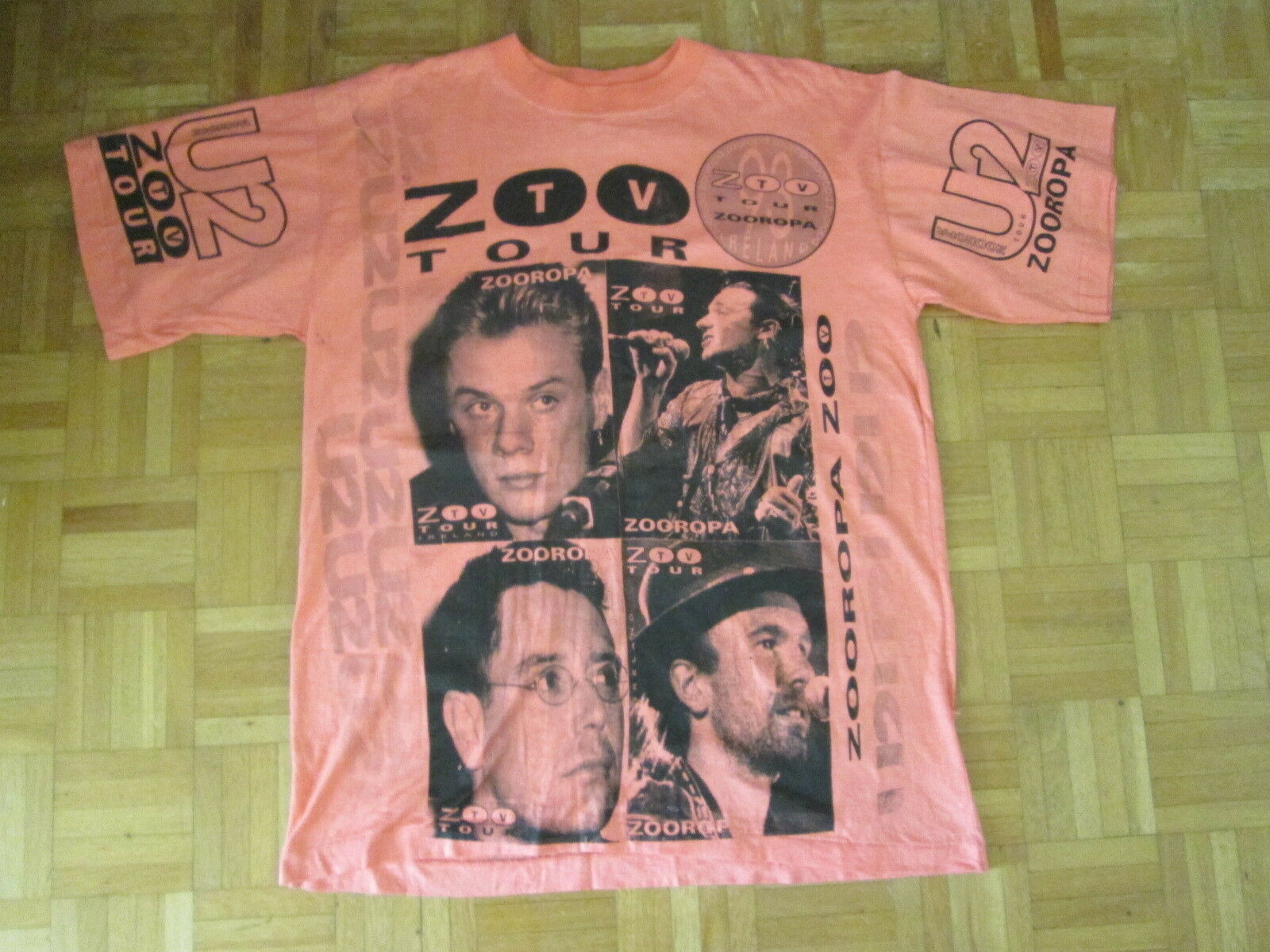 U2 Vintage Collectable Rare Zooropa Tv Tour Ireland 1993 TShirt