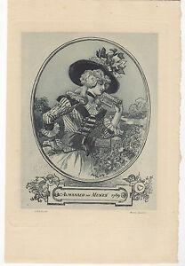 1894-Estampe-originale-Eau-forte-par-Albert-Robida-Lectrice-Almanach-des-Muses