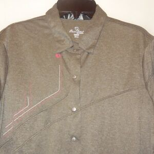 Shirt-Gray-Top-Size-X-Large-XL-Woman-Pearl-Izumi-Snap-Button-Down