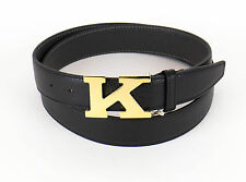 NIB KITON NAPOLI Black Pebbled Leather Gold K Buckle Belt Size 42 US 105 EU $995