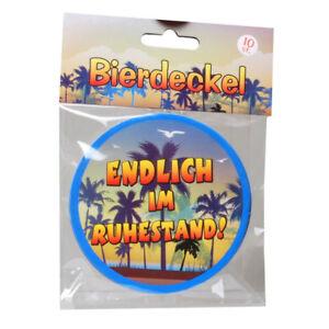 10-BIERDECKEL-ENDLICH-IM-RUHESTAND-Geschenkartikel-DEKO-Gagartikel-Rentner-DEKO