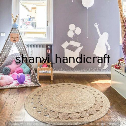 Braided Handmade Indian Natural Jute Rug Home Decor Round 3 Feet Area Rug Carpet