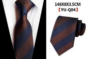 Corbata-Seda-Azul-Marino-Marron-Amarillo-a-Rayas-Estampado-Boda-Mens-Corbata-100-Seda