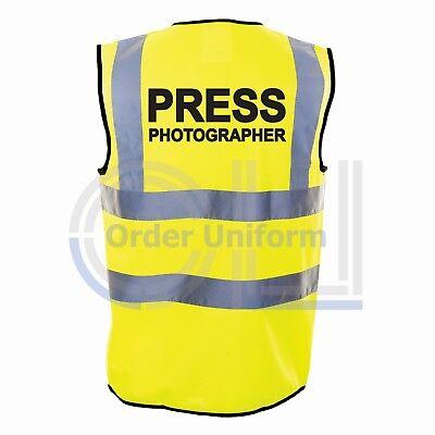SAFETY HI-VIS GLOW VEST PRESS PHOTOGRAPHER PRINTED HI-VIS VEST PRINTED