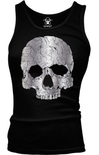 Skull Metallic Gothic Dead Death Halloween Beater Tank Top