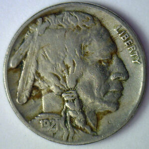 1921-Buffalo-Nickel-5-Cents-US-United-States-Type-Coin-Very-Fine-5c