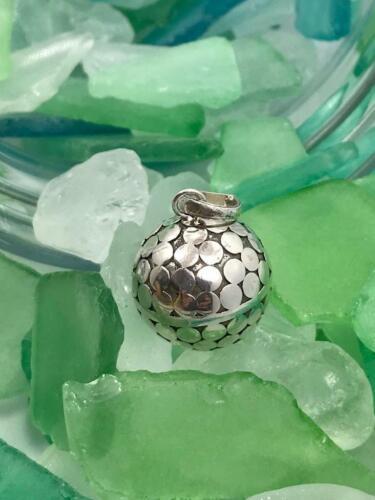 20 mm Handmade Sterling Silver .925 Bali Bola Disco Style Harmony Ball Pendant.