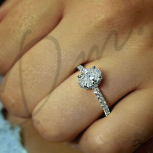 571b39677e4691 1.50 TCW Natural Oval Cut Pave Diamond Engagement Ring - GIA ...
