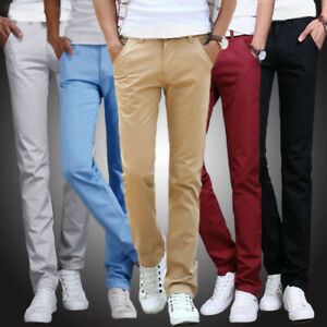 Mens-Skinny-Fit-Stretch-Chino-Trousers-Casual-Flat-Front-Super-Skinny-Pants