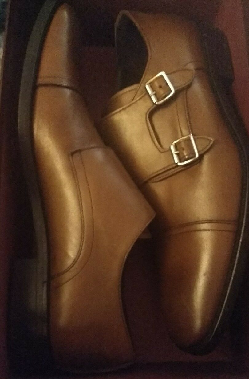 New New New TO Stiefel NEW YORK Morgan braun Leather Cap Toe Monk Strap Loafer US 11.5  325 0b0b9f