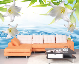 3D White Lily Petals 1401 Paper Wall Print Wall Decal Wall Deco Indoor Murals