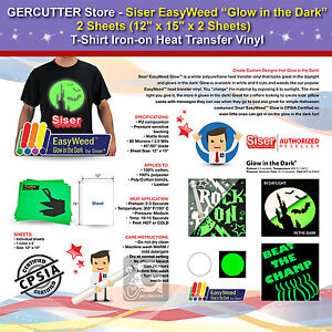 """SISER EASYWEED GLOW IN THE DARK, 2 SHEETS(12""""x15""""<wbr/>)T-SHIRT IRON-ON TRANSFER VINYL"""