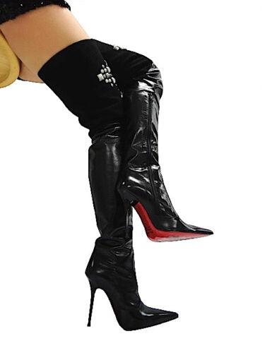 Italy Nero Leather Mori Boots Stiefel 44 Extreme Stivali Heels Overknee Black RFfnxqFOB