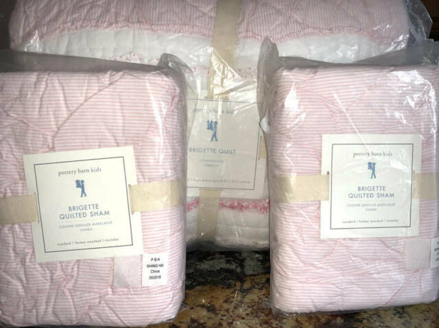 New~Pottery Barn Brigette Ruffle F/Q Quilt PINK & 2 ...