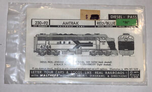 WALTHERS N SCALE DECAL - AMTRAK CAB DIESEL - EARLY SCHEME - ITEM #938-23092
