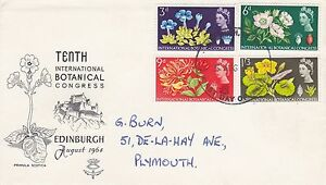 GB 1964 BOTANICAL Flowers Stamps Set FIRST DAY COVER Plymouth POSTMARK Ref:568
