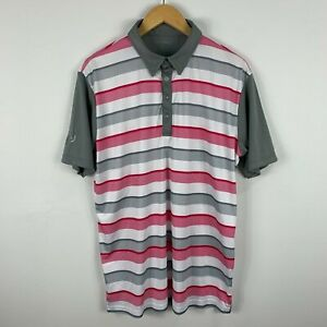 Rj-Golf-Polo-Shirt-Mens-Size-Large-Multicoloured-Striped-Short-Sleeve-Collared