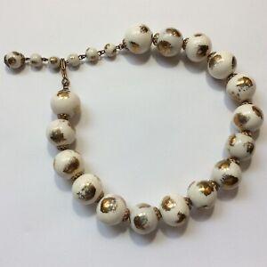Vintage-ceramic-porcelain-beads-necklace-brass-findings-white-glazed-gold-1950s