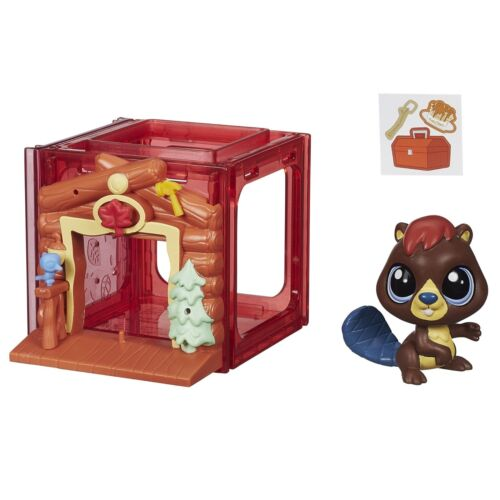 Littlest pet shop mini style set avec #4025 alder waterley beaver figure (B2896)