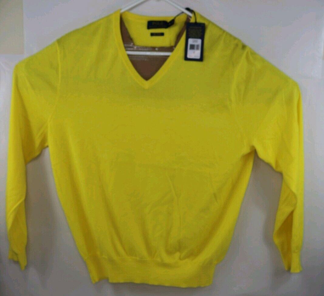 POLO RALPH LAUREN Classics Lemon Crush Men's V-Neck Sweater Gelb SZ XL  125