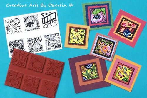 "6 New 1/"" Square Unmounted Rubber Stamps Small Designs for Jewelry Clay Paperarts"