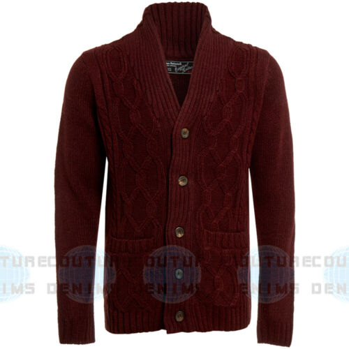 Mens Cable Knit Shawl Collar Cardigan Thick Knitwear Cardi Button Front Warm