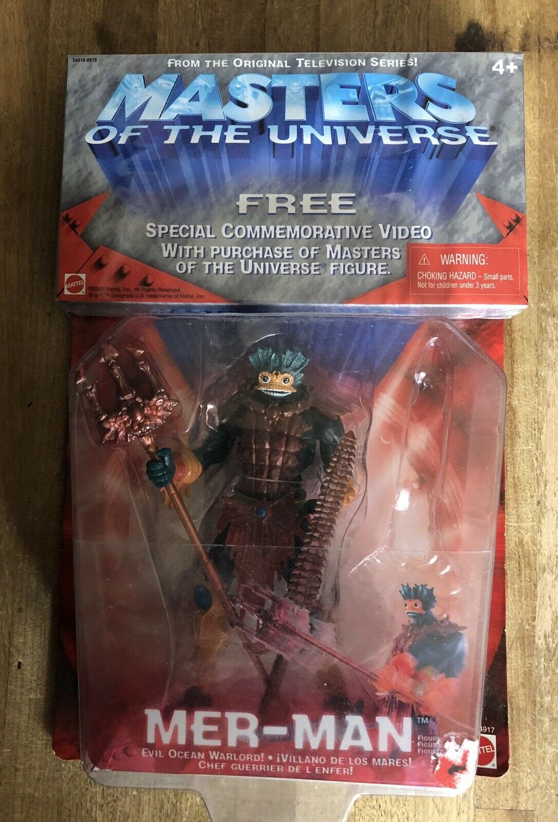 MOTU Mer Man Action Figure Mattel 2001 Plus Collector Video New He Man