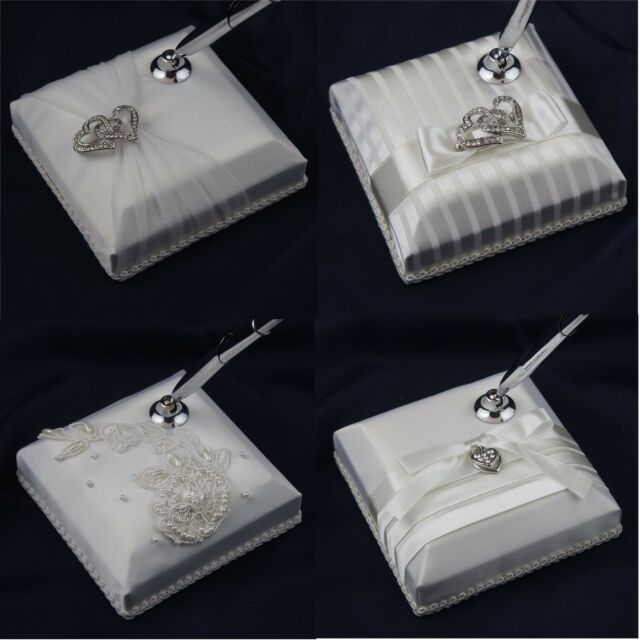 Wedding Pen and Stand Embellished Padded Cover Satin Pearl Diamonte Variations