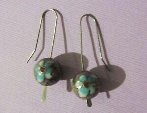 Purple-Beaded-Cloisonne-Sterling-Silver-Hook-Back-Dangle-Drop-Earrings-4-grams